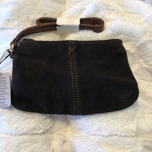Timberland Chocolate Brown Suede Leather Wristlet